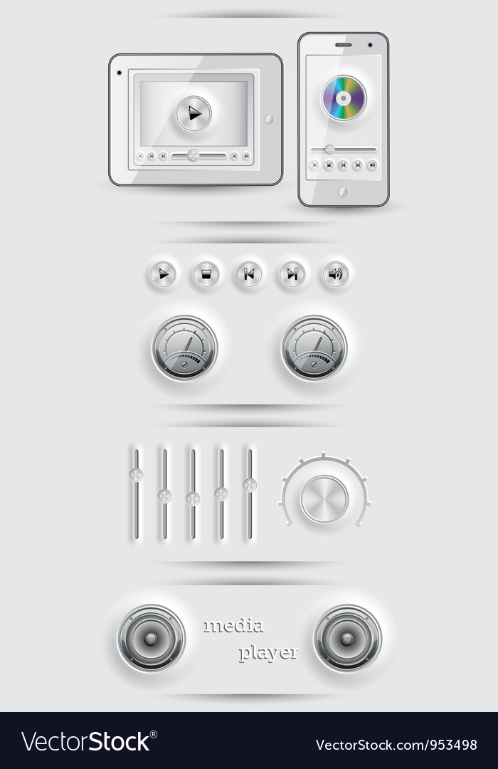 Media icons and buttons vector