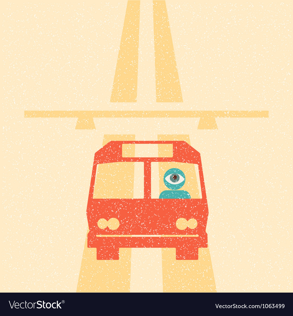 Bus driver on the highway retro poster vector