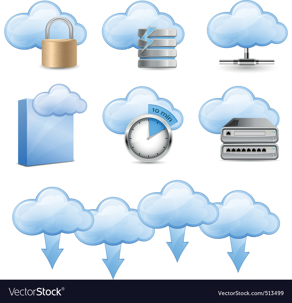 Cloud hosting icons vector