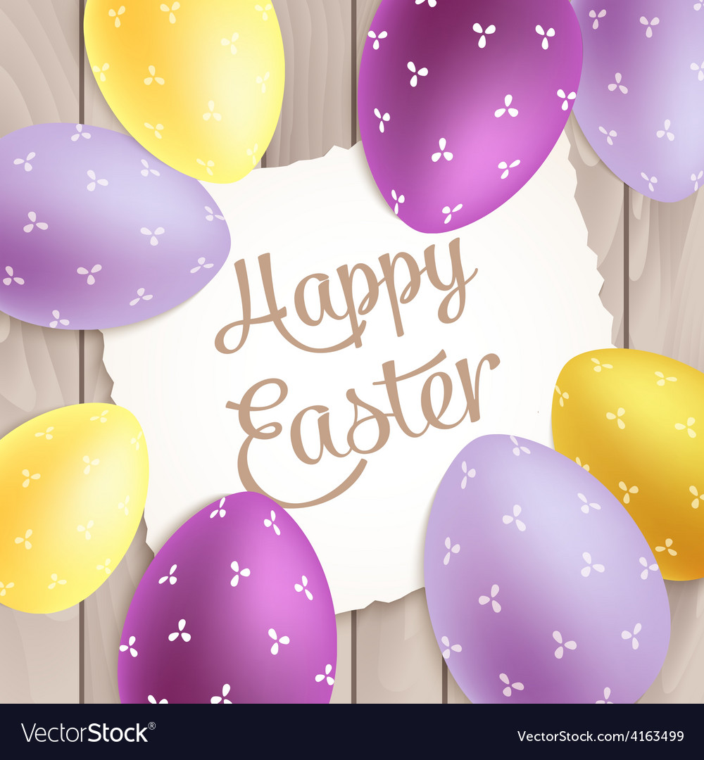 Easter poster with colorful eggs on wood vector