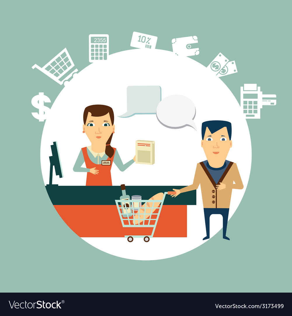 Grocery store cashier serves customers vector