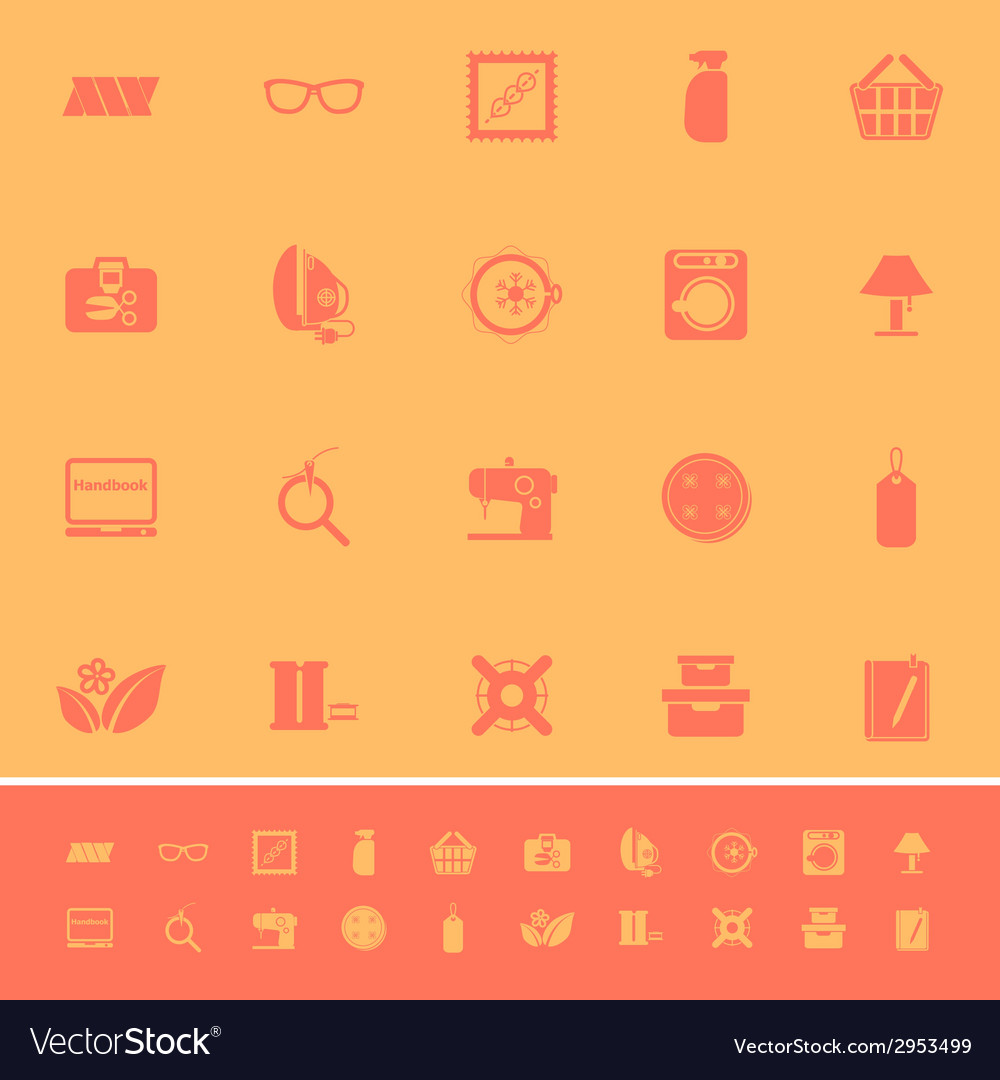 Sewing cloth related color icons on orange vector