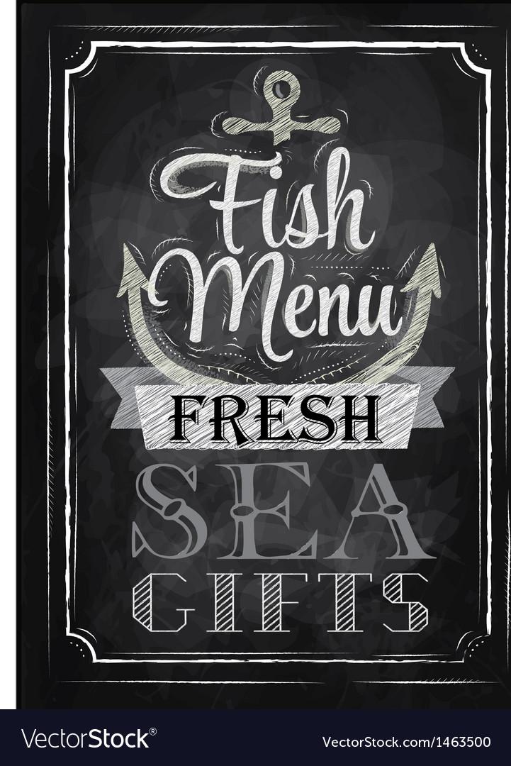 Poster fish menu fresh sea gifts chalk vector