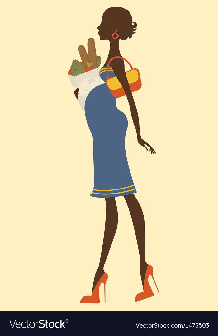 Chic preggy shopping for groceries vector