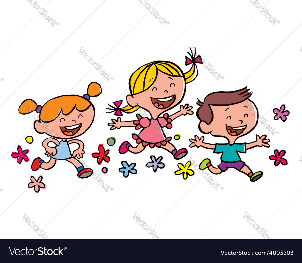 Happy children running vector