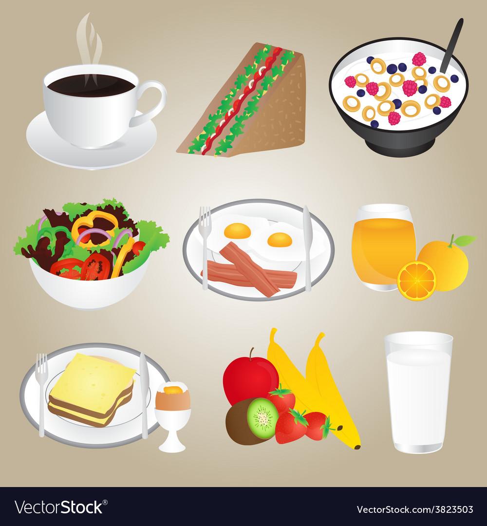 Healthy foods and breakfast set vector