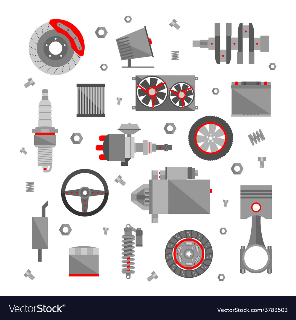 Set of auto spare parts isolated on white vector