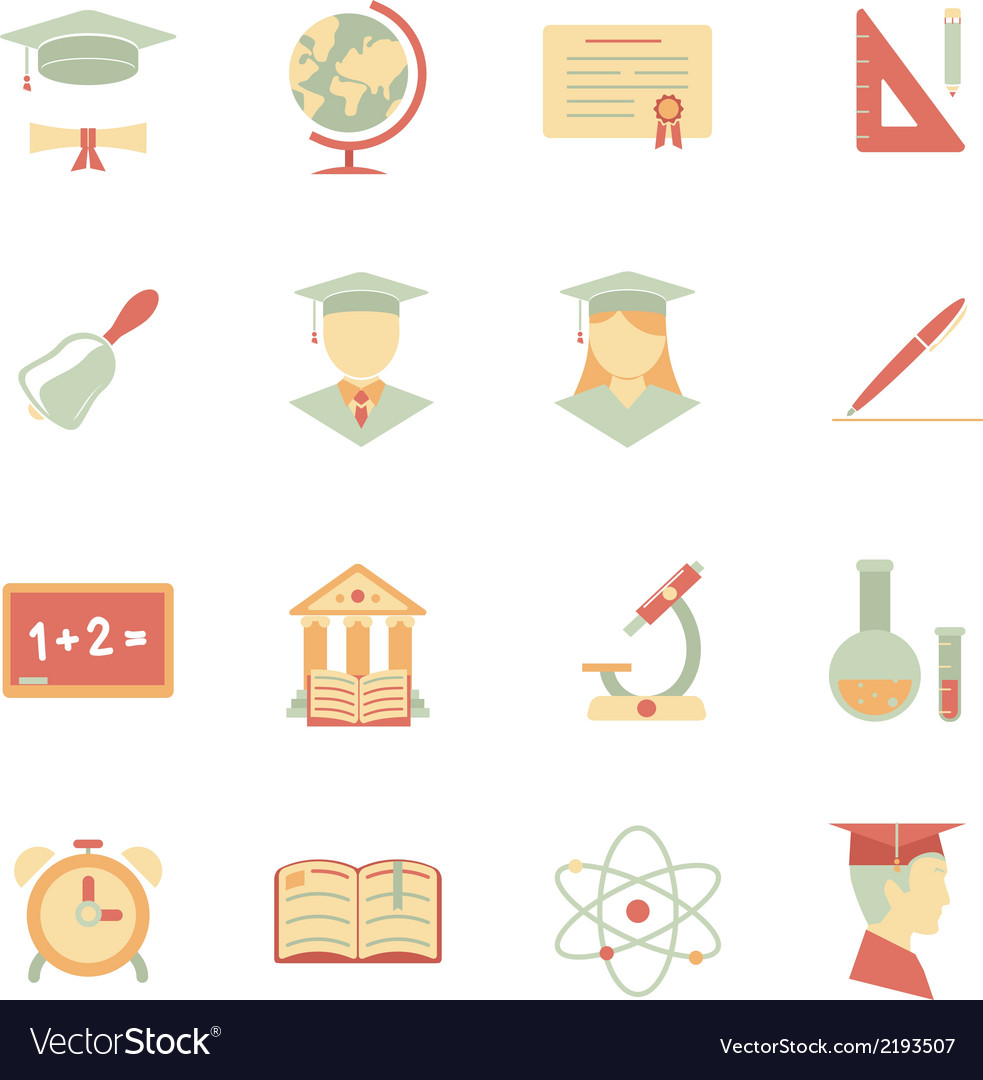 Flat internet education icons vector