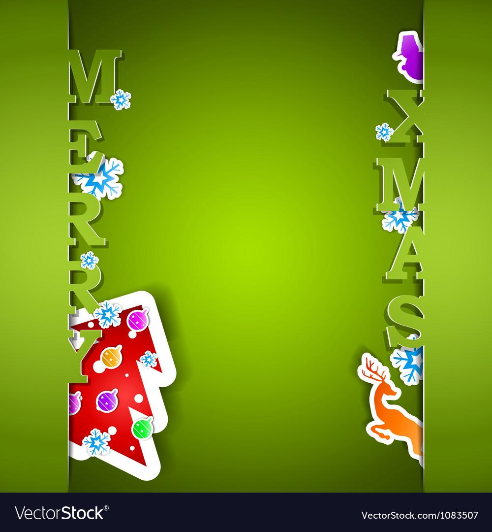 Merry xmas green card eps10 vector