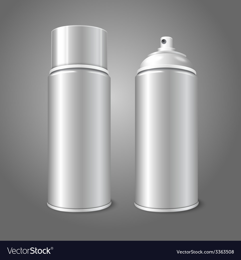 Two blank aerosol spray metal 3d bottle cans - vector