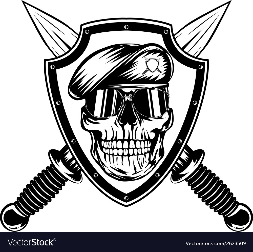 Skull in shield and daggers vector