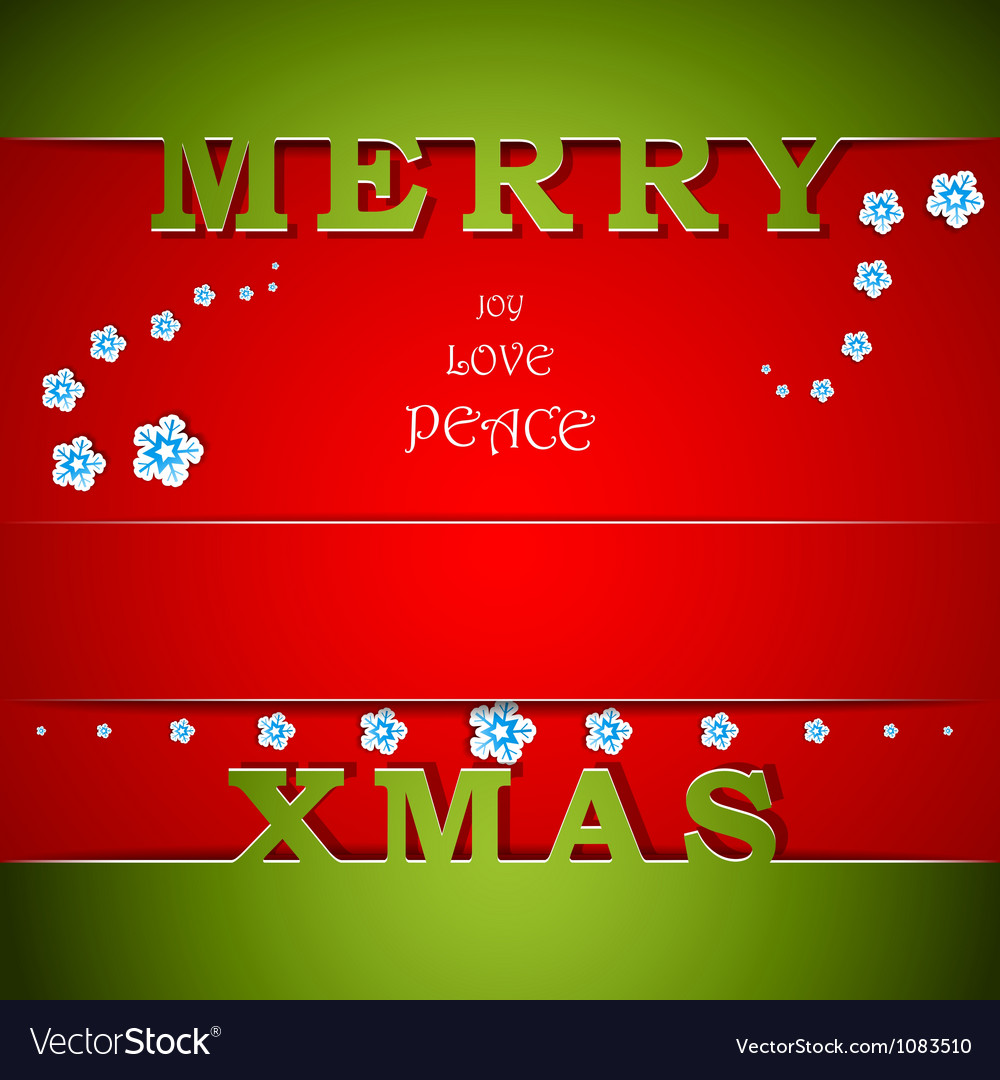 Merry xmas green and red card with wishes vector