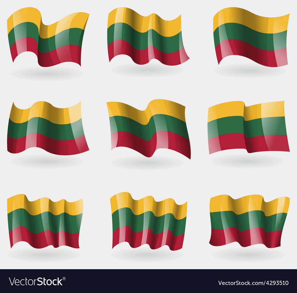 Set of lithuania flags in the air vector