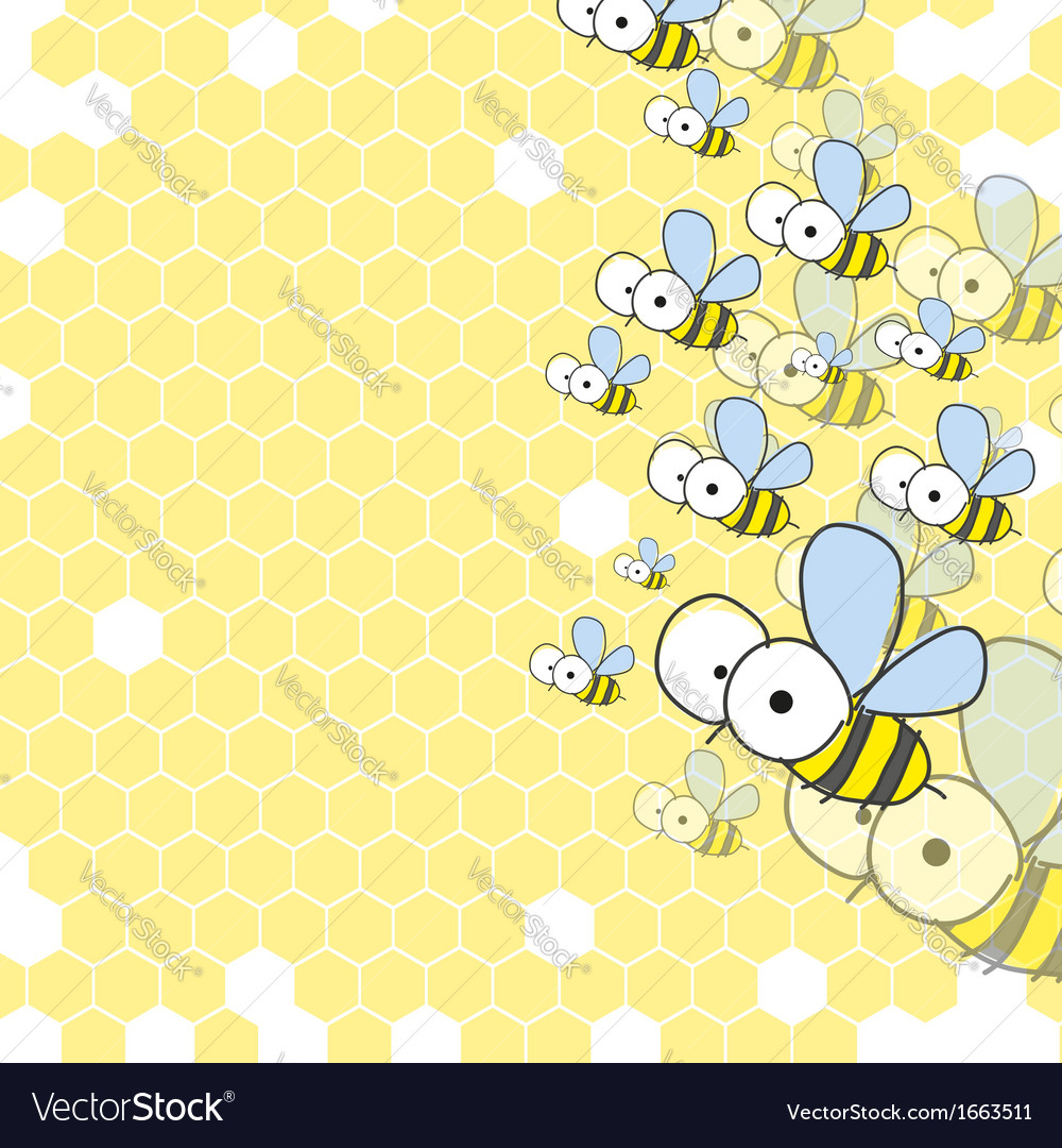Bees and honeycomb spring background vector