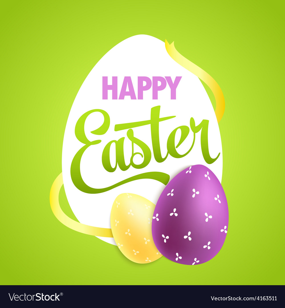 Easter poster with realistic eggs on colorful vector
