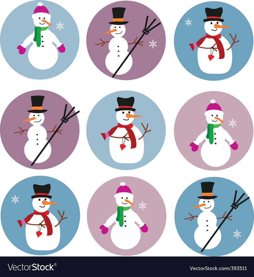 Icons of snowmen vector