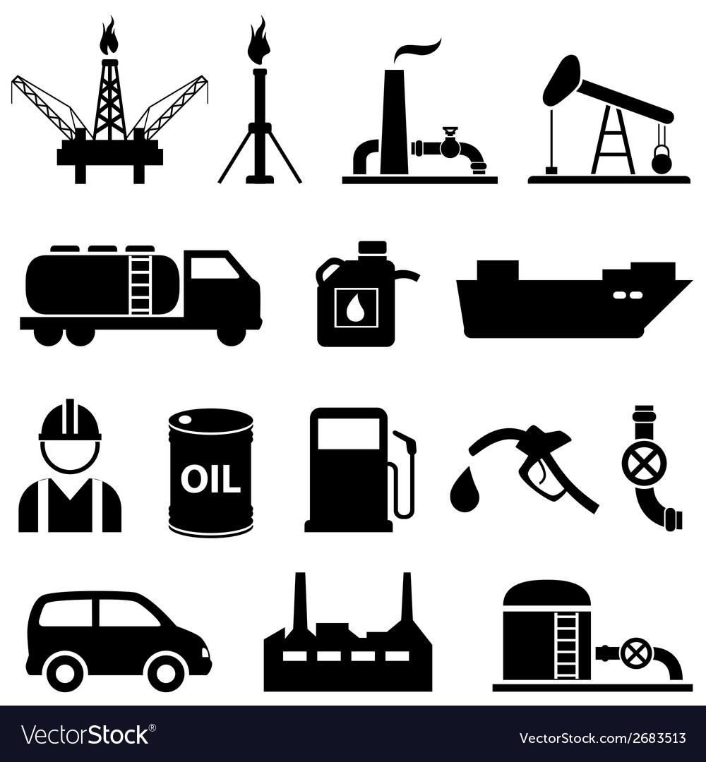 Oil icon set vector