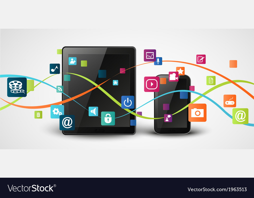 Tablet computer and mobile phones vector