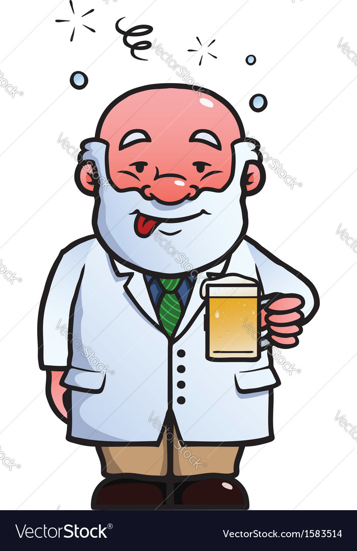 Scientist being drunk vector