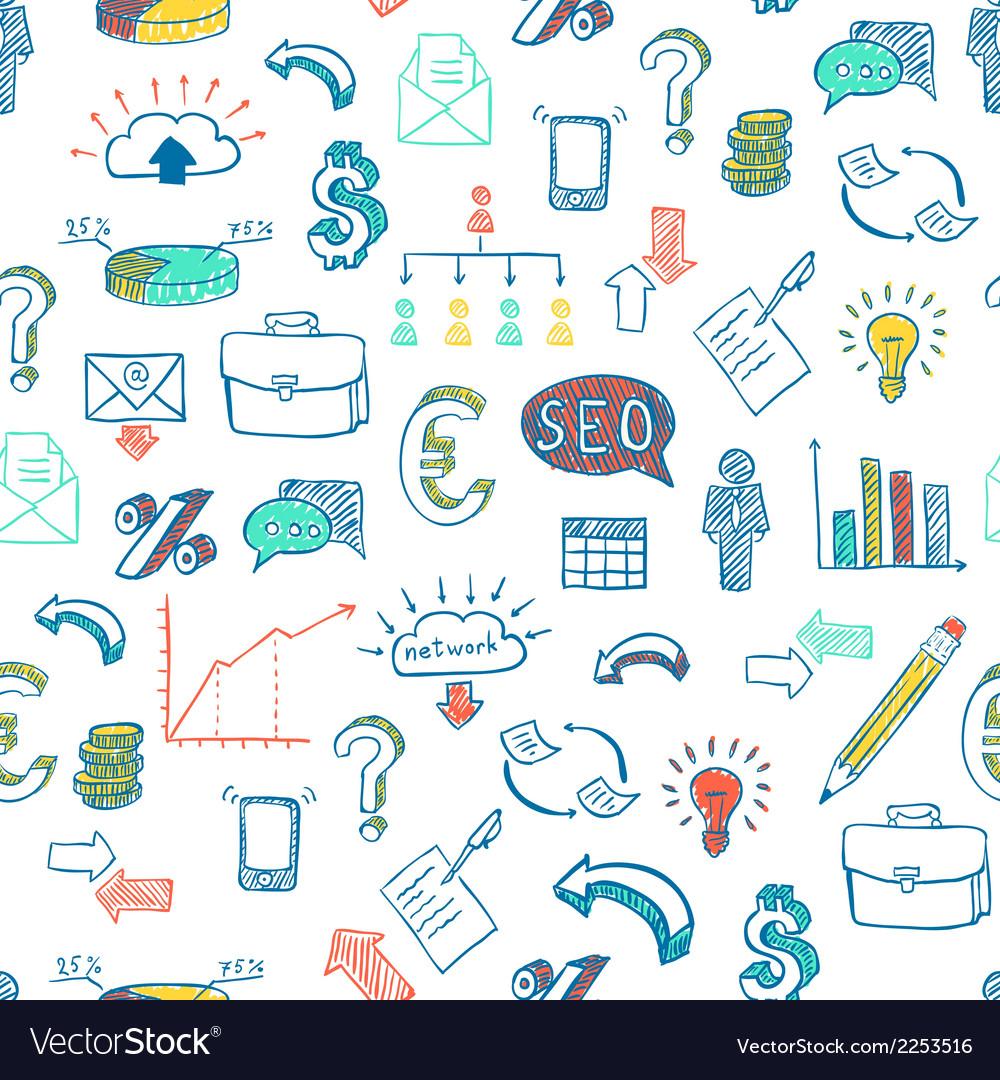 Business doodle pattern vector
