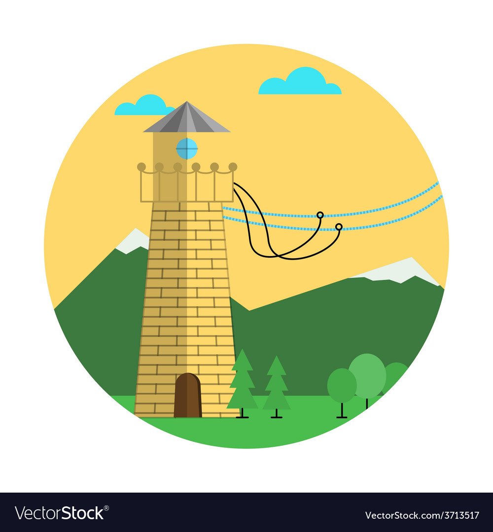 Flat color abstract icon for rope jumping vector