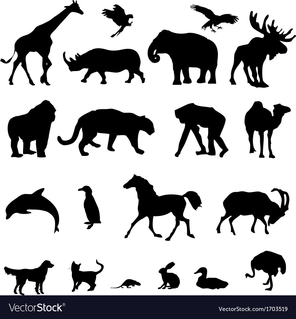 20 animal black silhouette vector