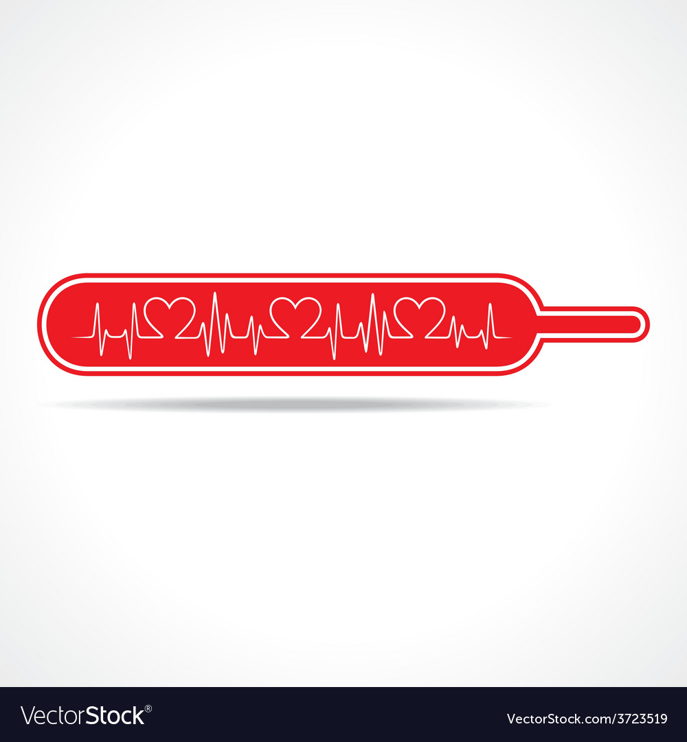 Heartbeat make heart inside the thermometer vector