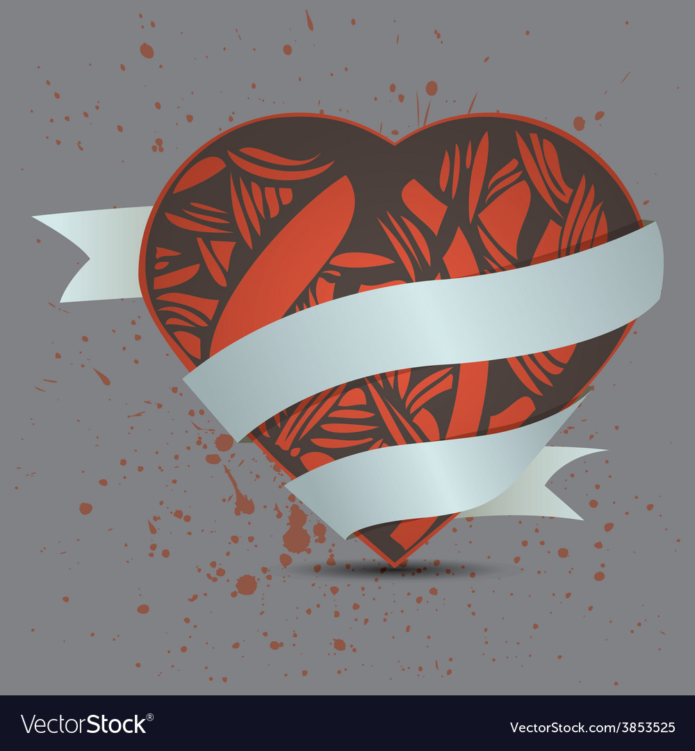 Abstract heart on dirty background vector