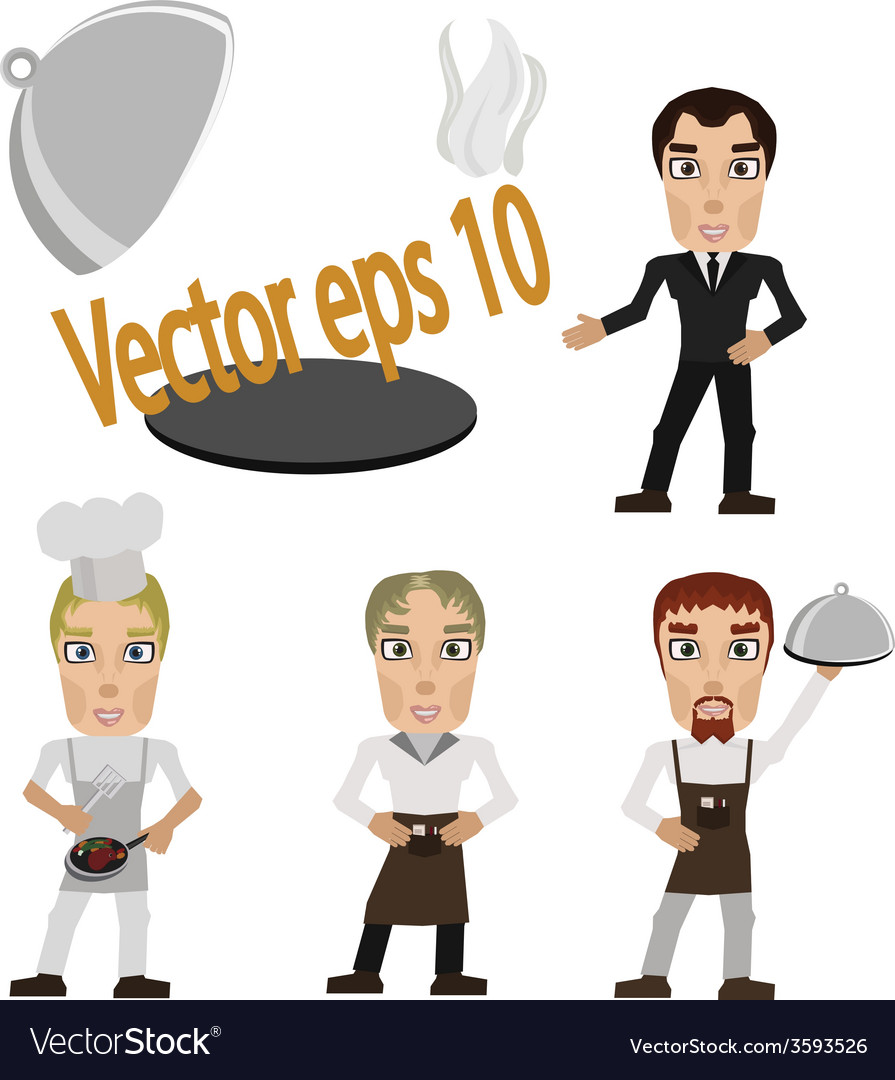 Cook prepares and waiter with tray vector