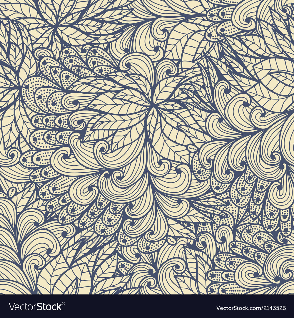 Seamless floral doodle pattern vector