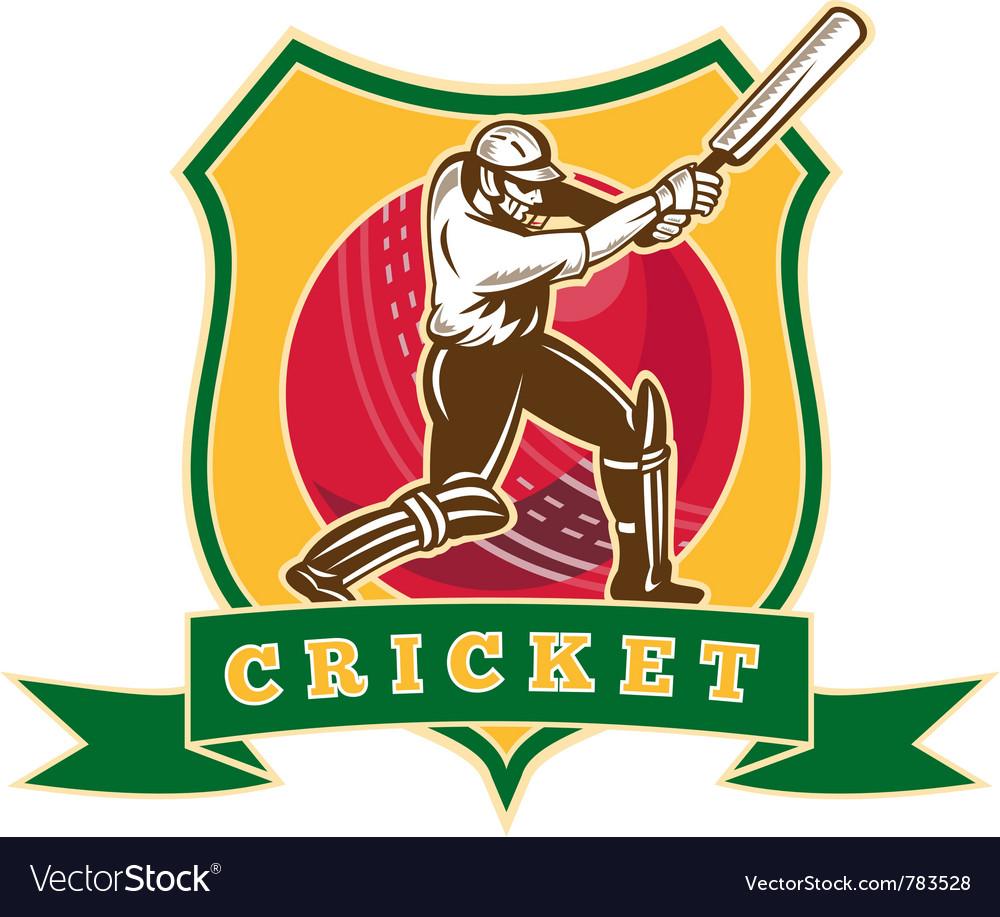 Cricket sporting shield vector