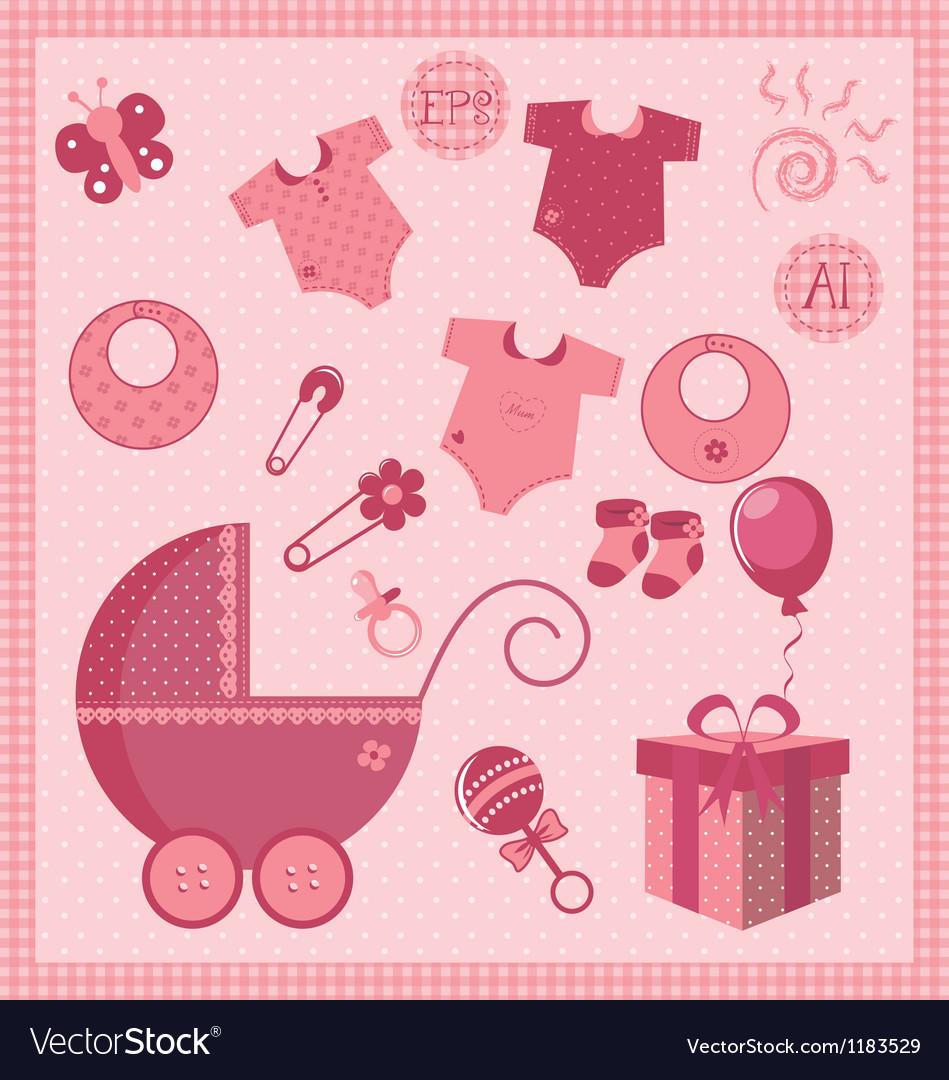 New born baby girl set vector