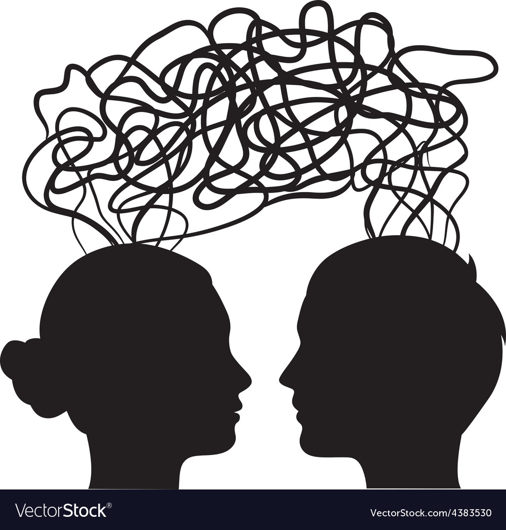 Man and woman thinking on same way idea concept vector