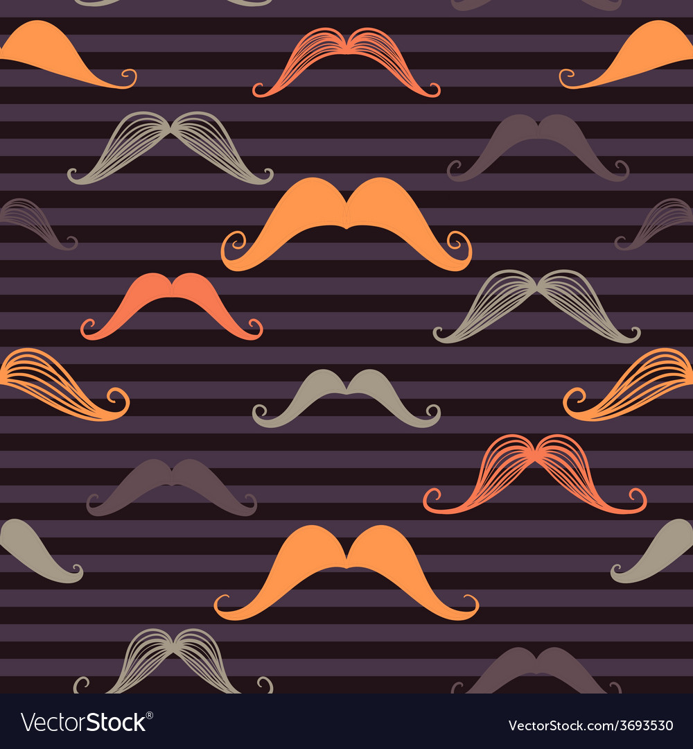 Mustache seamless pattern in vintage style vector
