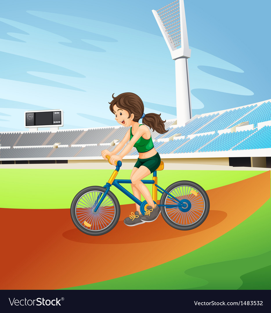 A girl biking at the field vector