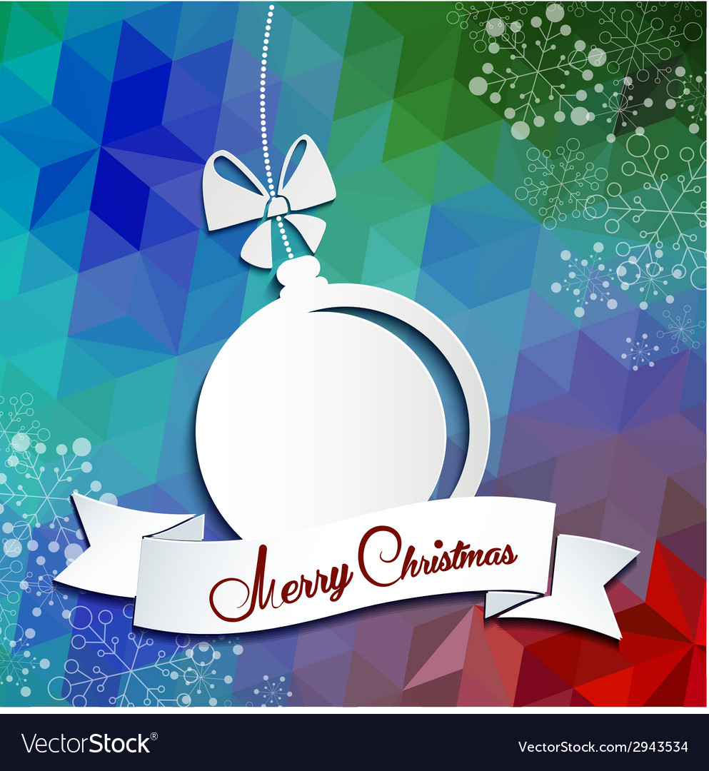 Merry christmas greeting card with triangle vector
