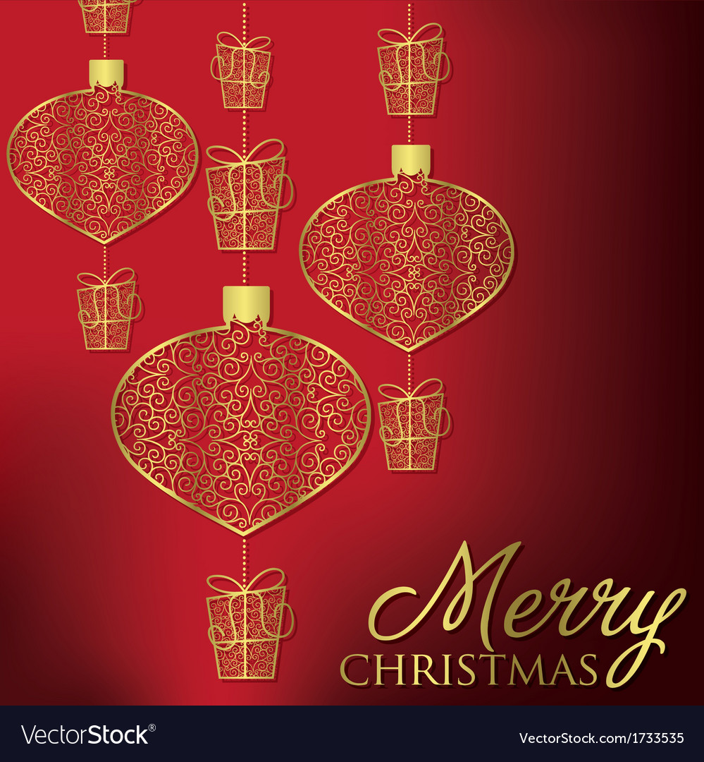 Formal christmas filigree card in format vector