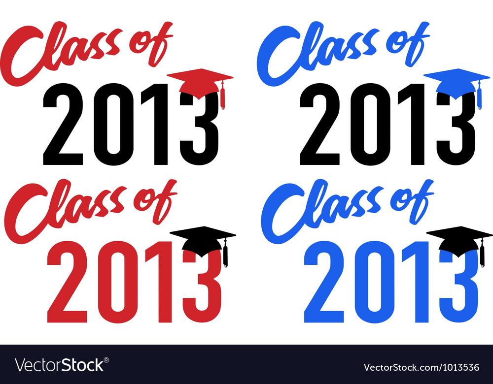 Class of 2013 school graduation date cap vector