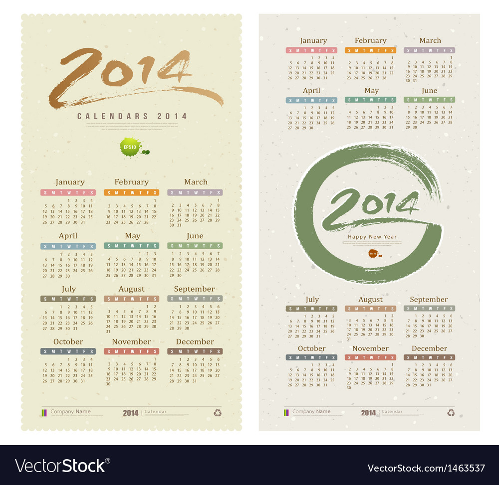 Calendar 2014 text paint brush collections vector