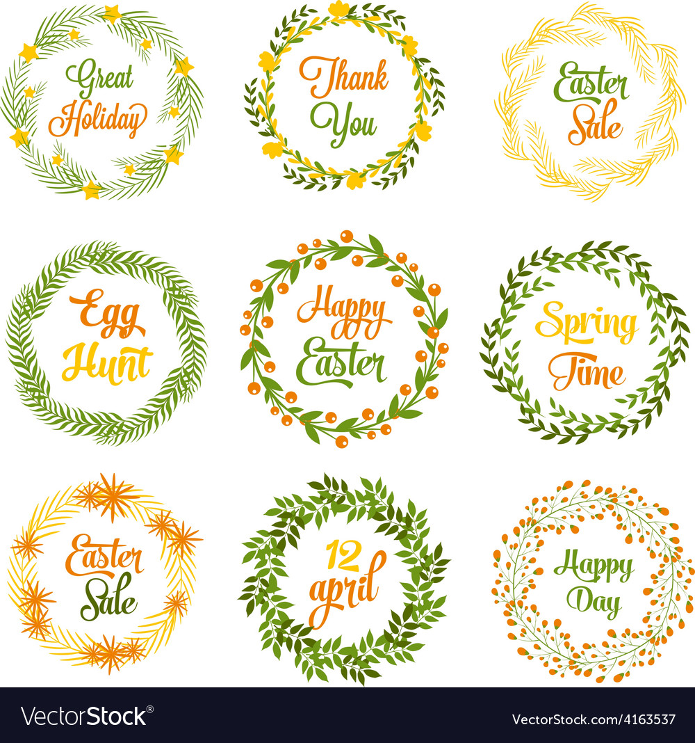 Easter wreaths with plants and flowers vector