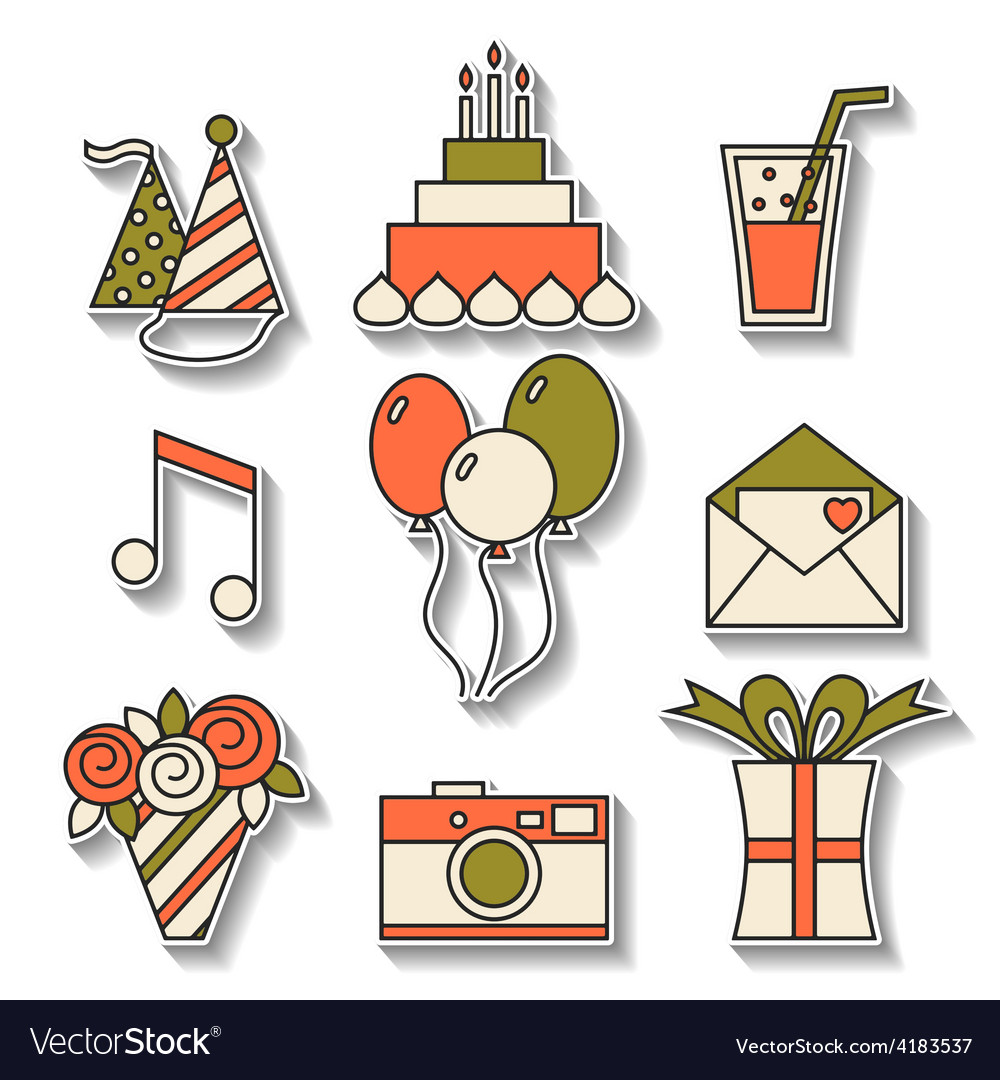 Holiday flat icons happy birthday set vector