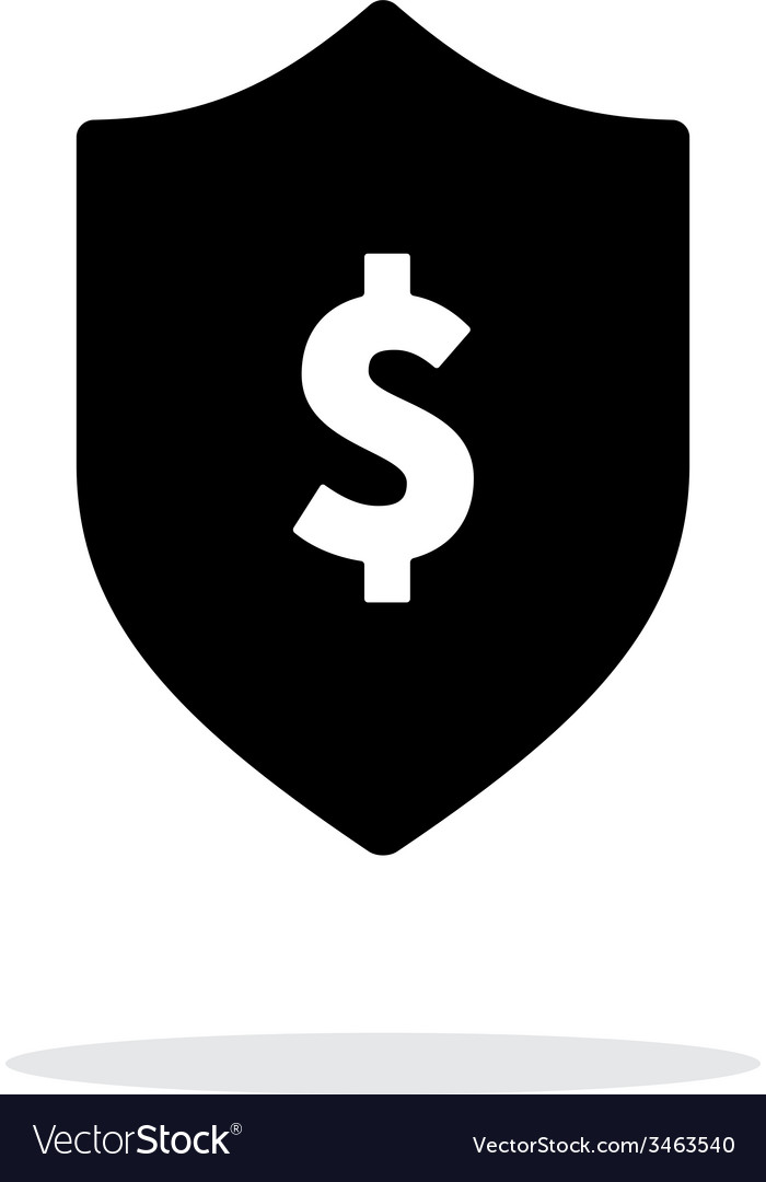 Financial security shield with dollar sign icon on vector