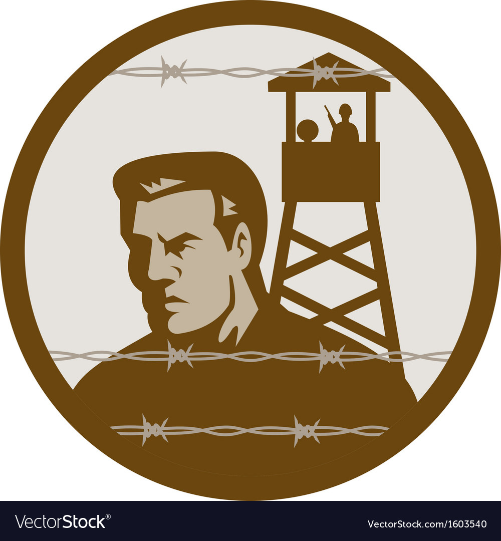 Prisoner of war in a concentration camp with guard vector