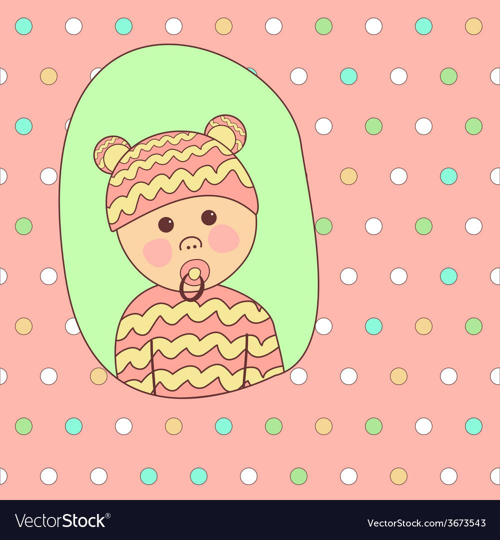 Baby shower card design little cute girl in vector