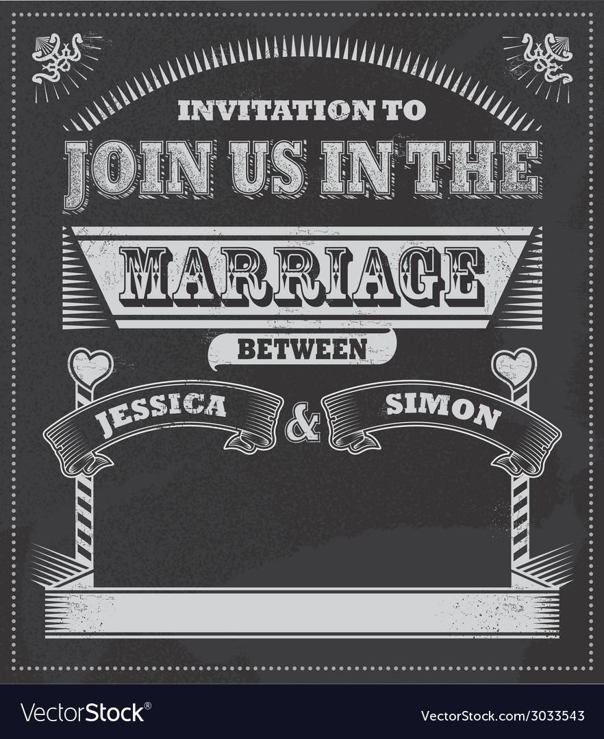 Chalkboard wedding invitation vector