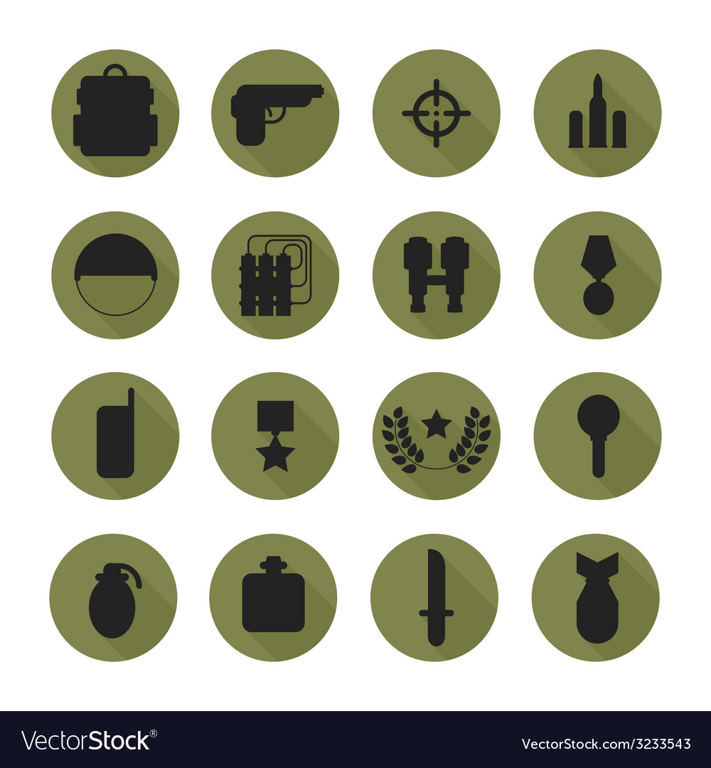 Military silhouette pictogram and war icons set vector