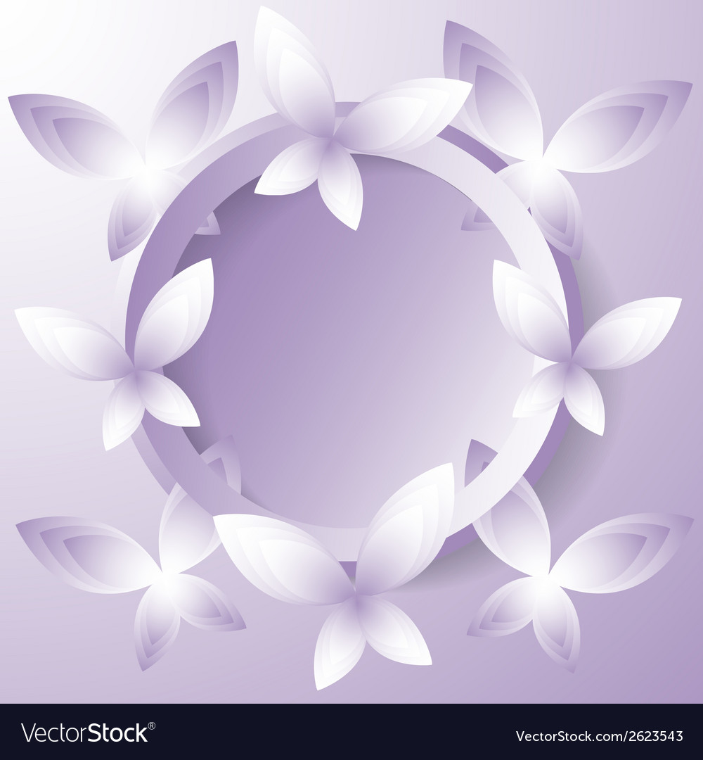 Violet butterflies around the circle vector