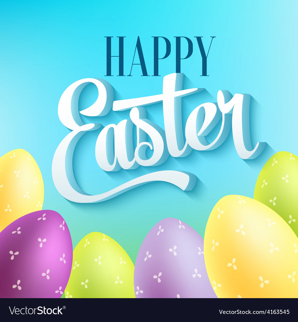 Happy easter typography on blur background with vector
