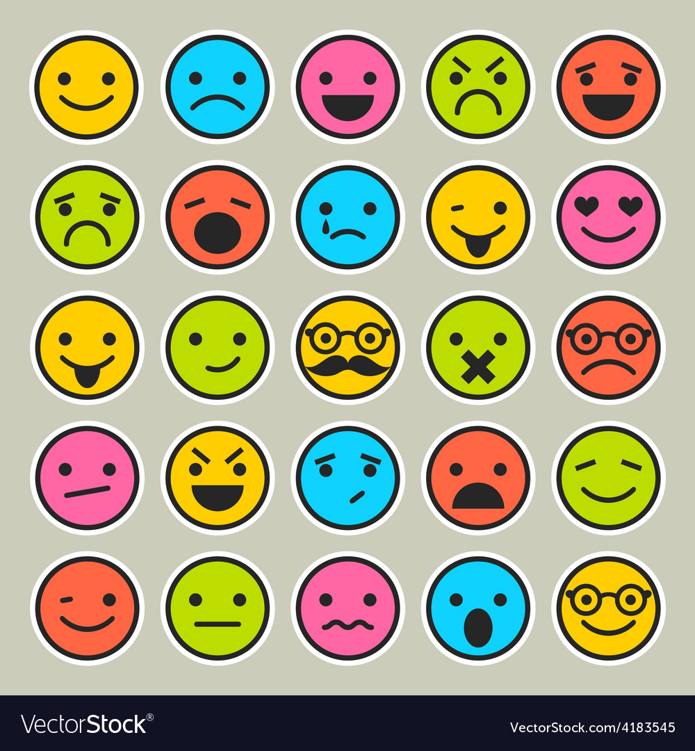 Set of emoticons faces icons vector