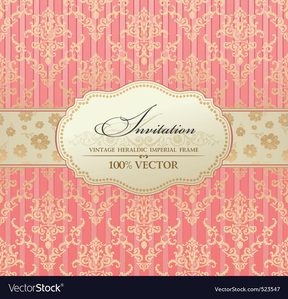 Tion vintage label vector frame pink vector